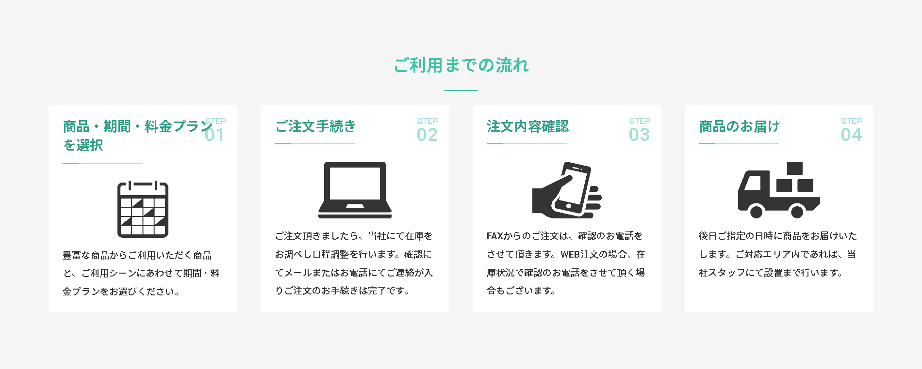 ファストレンタル_ご利用の流れ 家具スクリプション